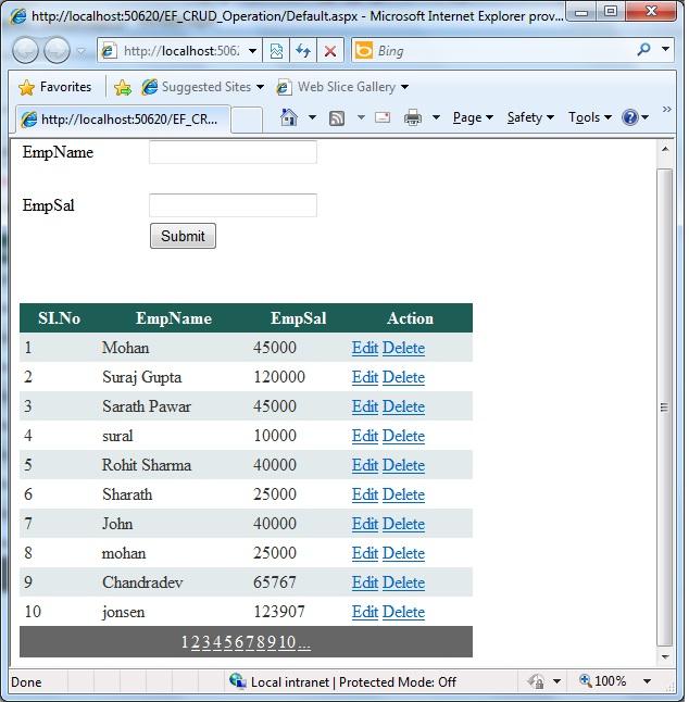 How to fill Gridview using Entity Framework in asp net ?Part