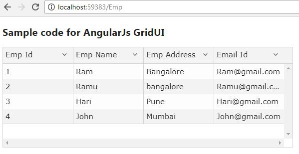 How to implement Angular Js UI-Grid in Asp net MVC